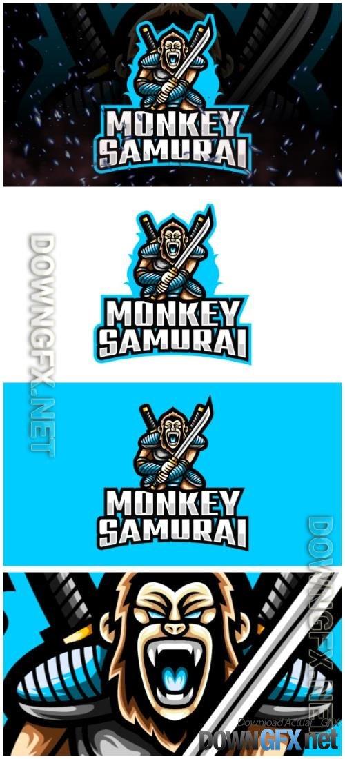 Monkey Samurai E-Sport and Sport Logo Template
