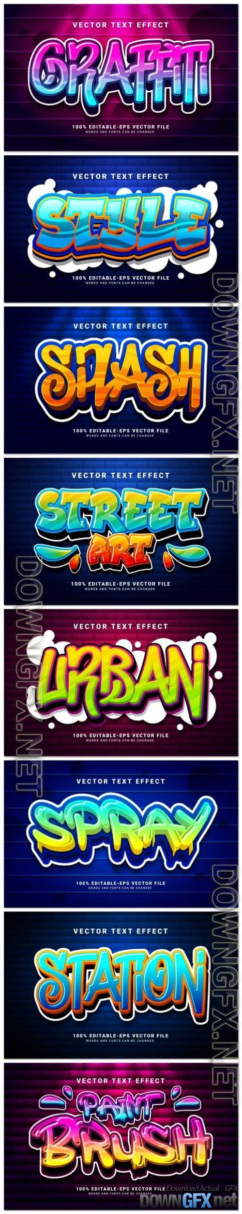 Set 3d editable text style effect vector vol 95