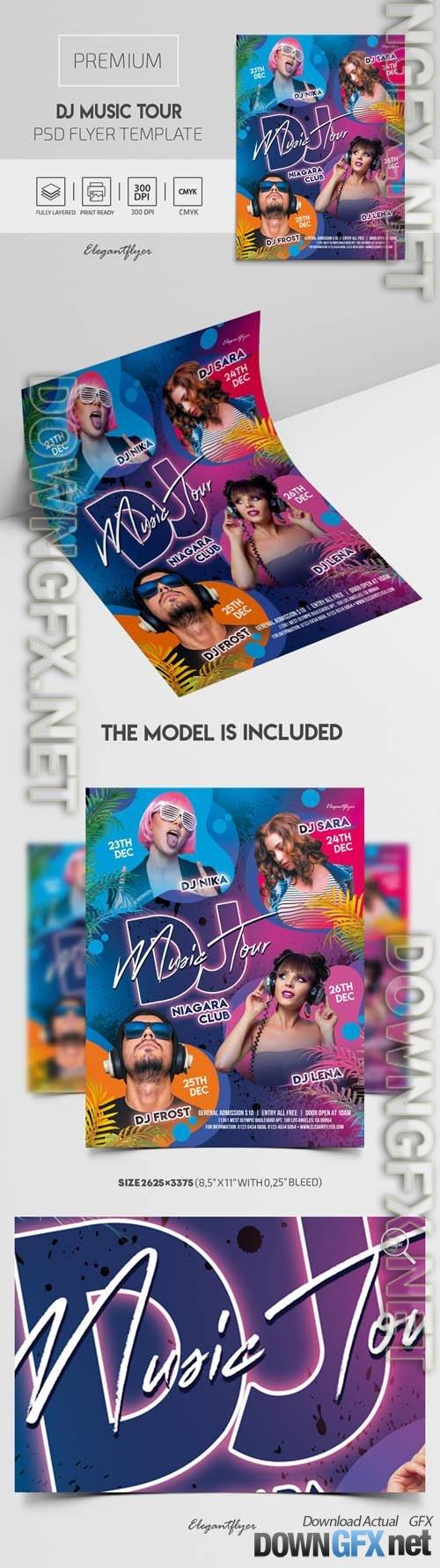 DJ Music Tour Premium PSD Flyer Template