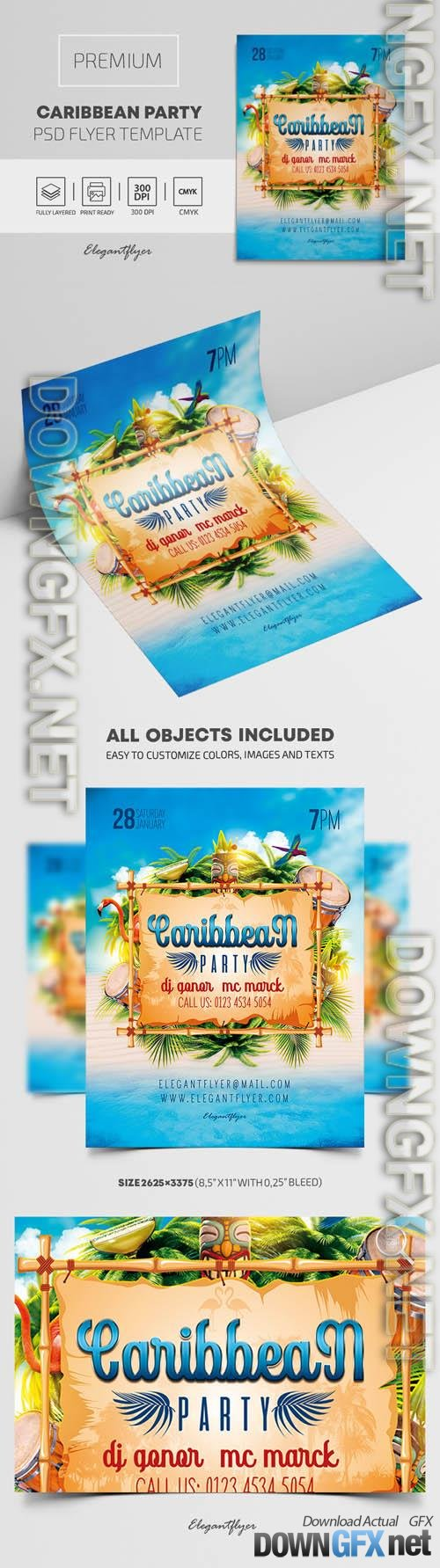 Caribbean Party Premium PSD Flyer Template
