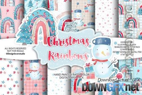 Christmas Rainbow digital paper pack