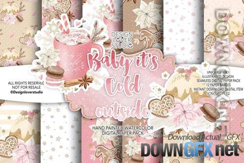 Baby its cold outside digital paper pack