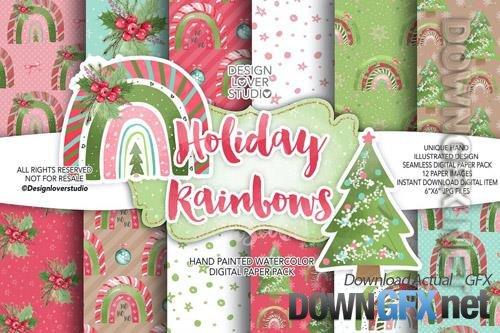 Holiday Rainbow digital paper pack