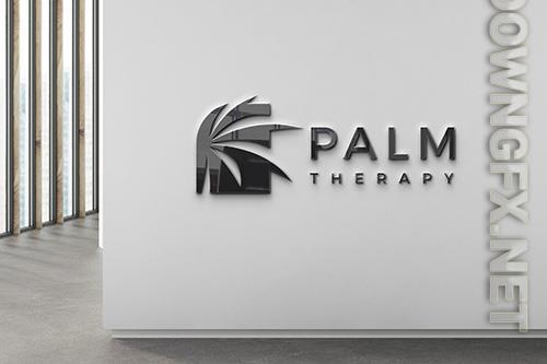 Black company logo wall