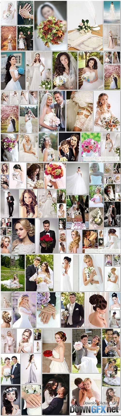100 Bundle beautiful bride and groom, wedding stock photo vol 1