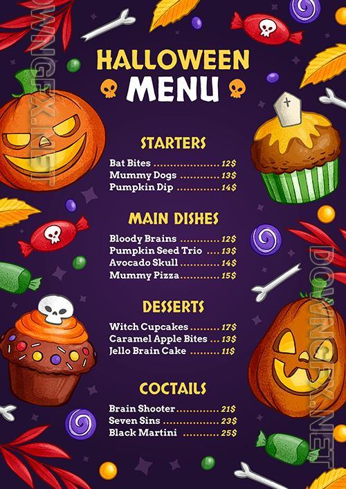 Hand-drawn halloween vertical menu template
