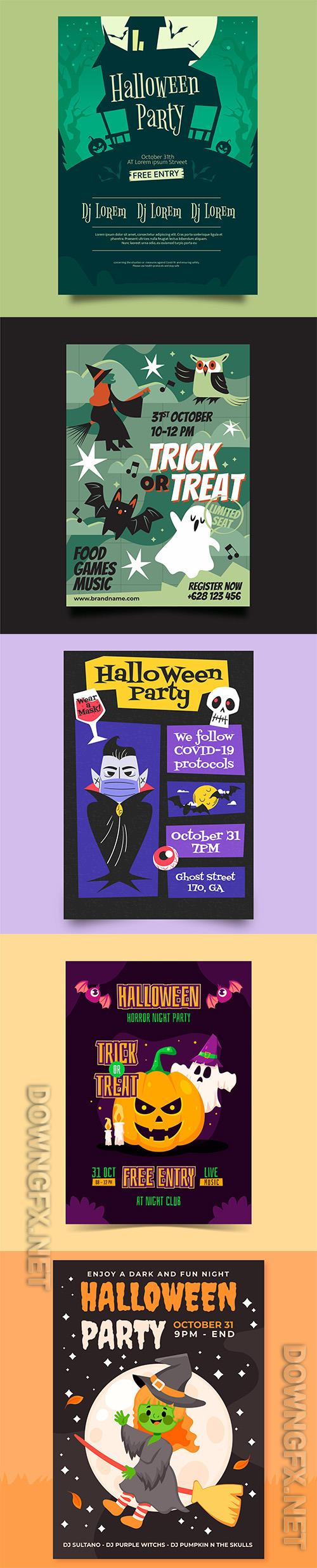 Realistic halloween party vertical flyer template vol 9