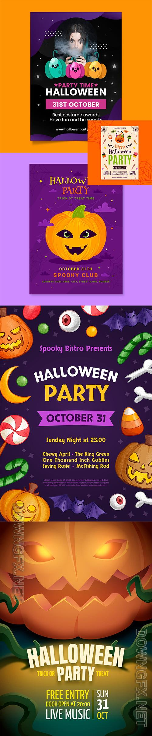 Realistic halloween party vertical flyer template vol 10