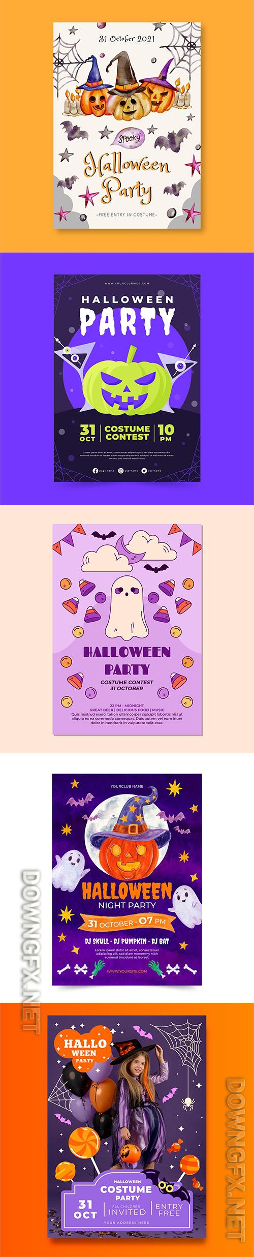 Realistic halloween party vertical flyer template vol 8
