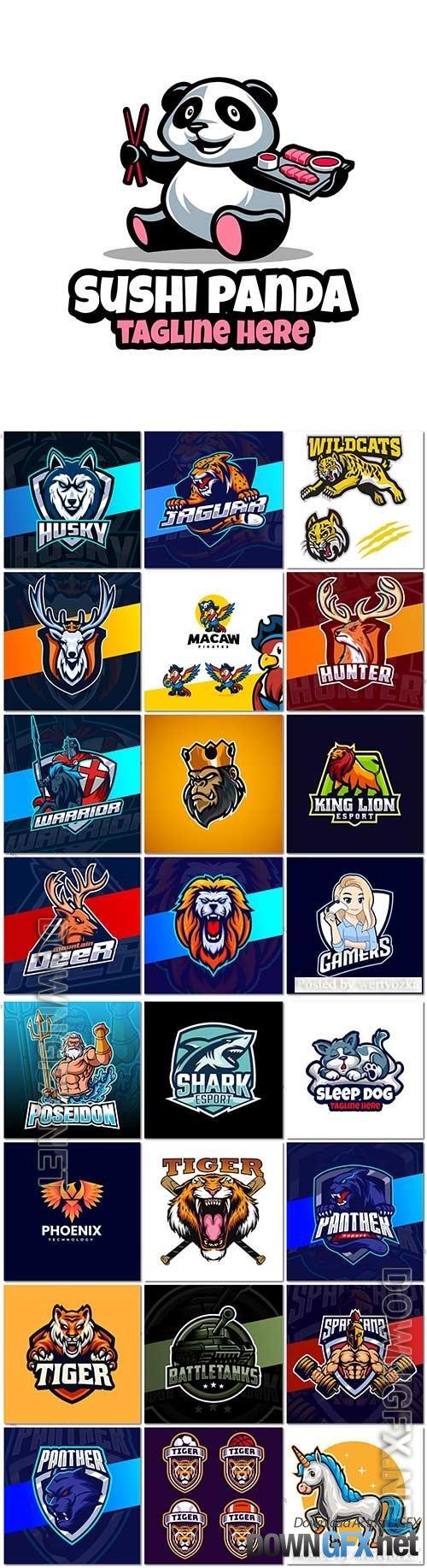 Mascot logo design set premium vector vol 27