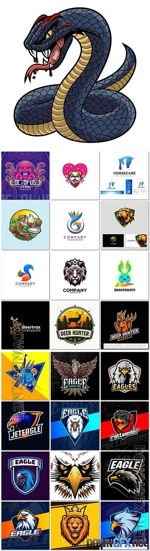 Mascot logo design set premium vector vol 26