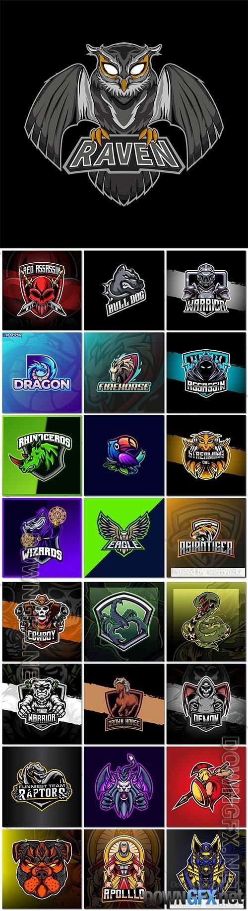 Mascot logo design set premium vector vol 17