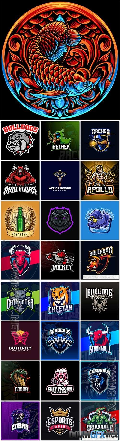 Mascot logo design set premium vector vol 21