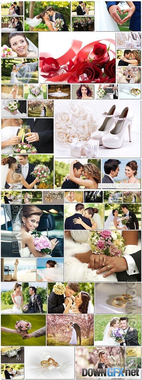50 Bundle beautiful bride and groom, wedding stock photo vol 4