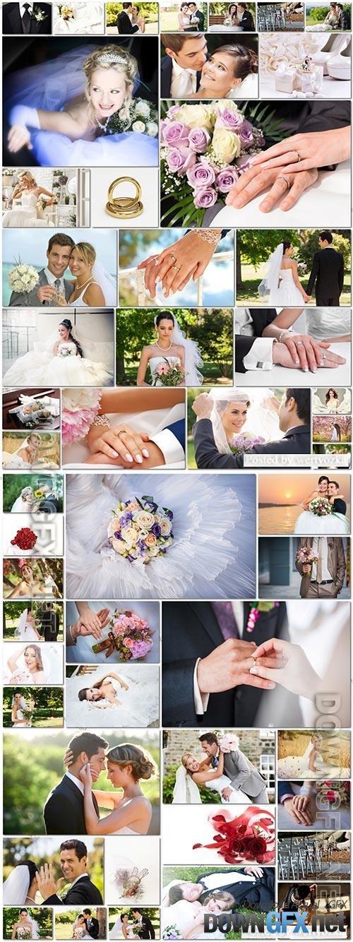 50 Bundle beautiful bride and groom, wedding stock photo vol 3