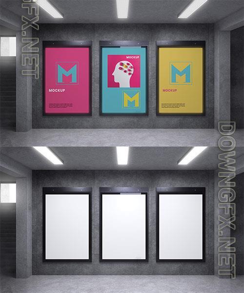 Group backlit modern city vertical mockup