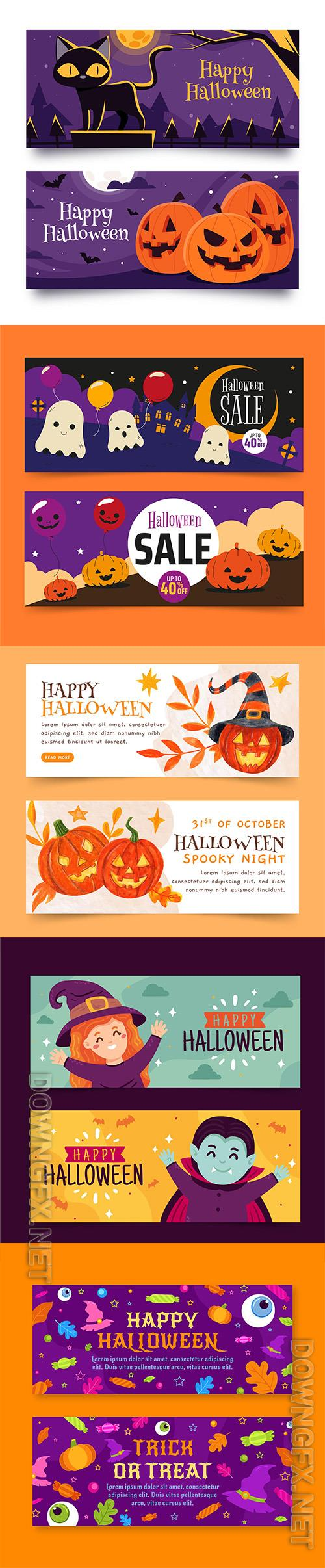 Halloween horizontal banners set vol3