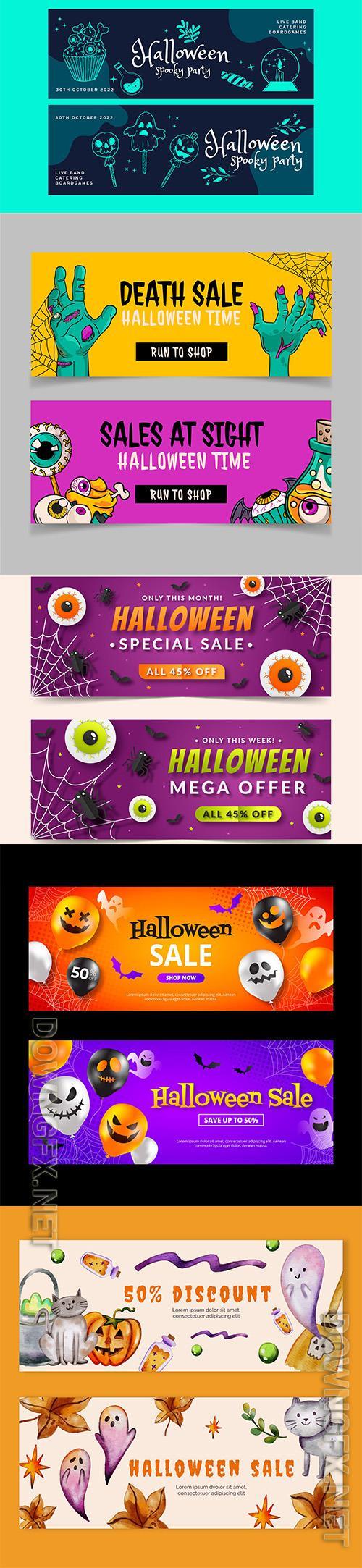 Halloween horizontal banners set vol2