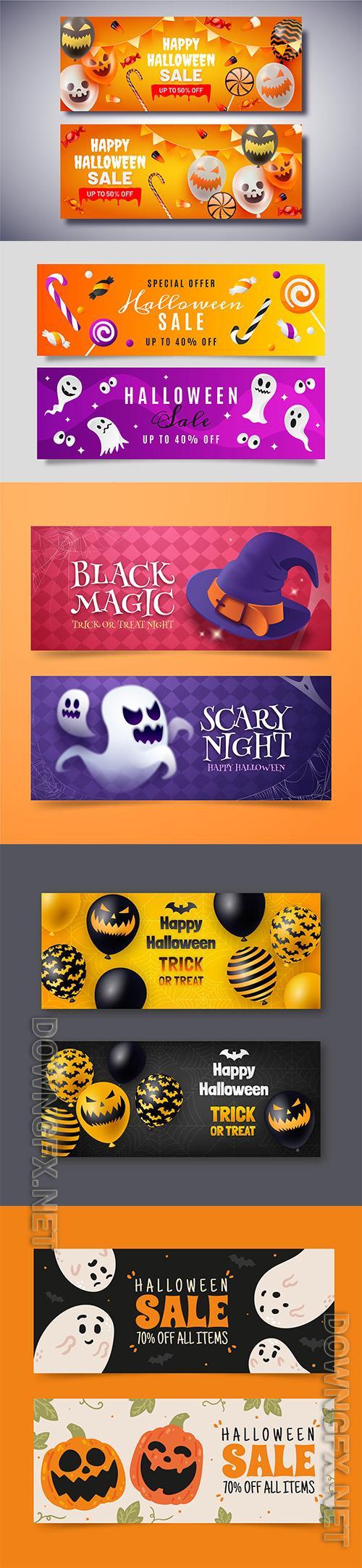 Halloween horizontal banners set