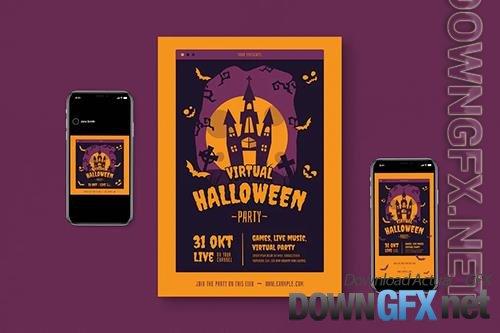 Virtual Halloween Flyer Set