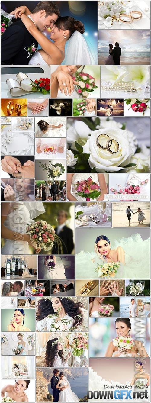 50 Bundle beautiful bride and groom, wedding stock photo vol 6