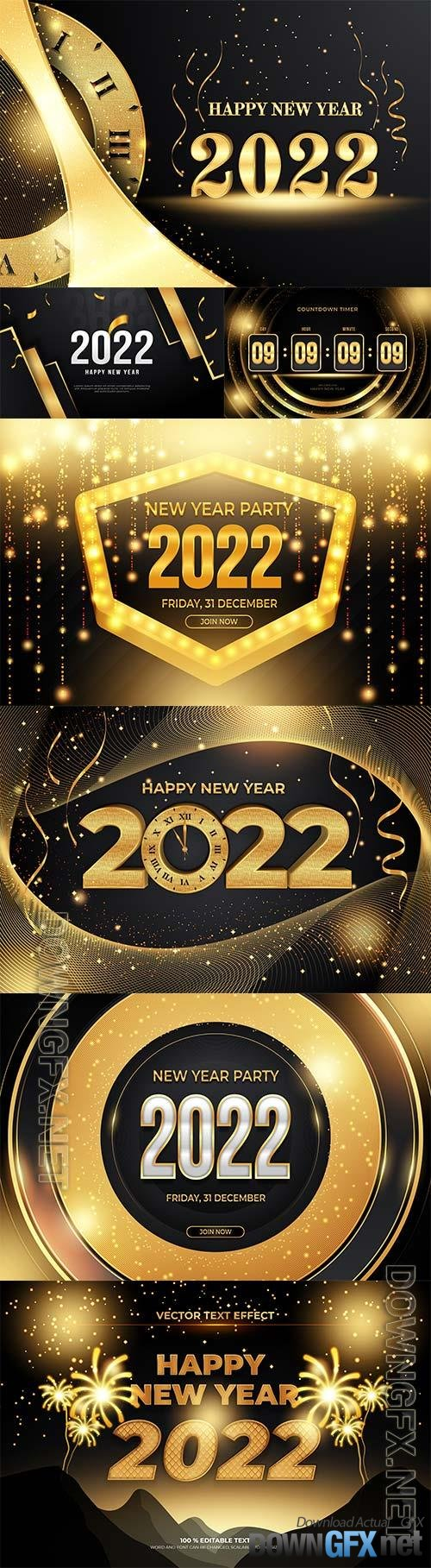 Happy new year editable text effect with black gold backround style premium vector