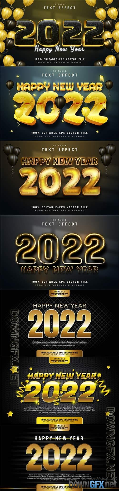 Happy new year 2022 gold 3d editable text effect premium vector