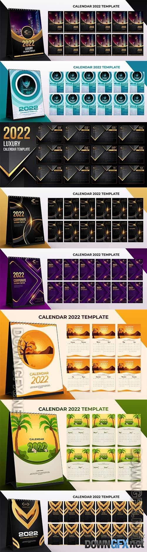 2022 desk calendar corporate template set of 12 months with black gold color background premium vector