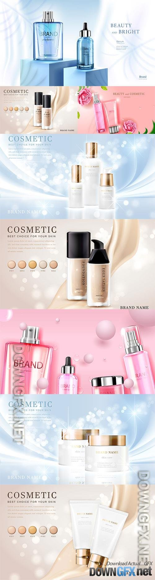 3d cosmetic make up vector illustration