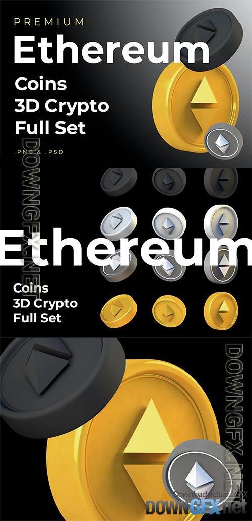 Ethereum 3d Premium Crypto DeFi Coins Set