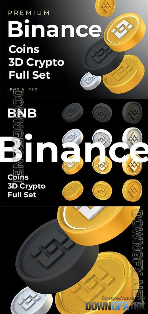 Binance BNB 3d Premium Crypto DeFi Coins Set