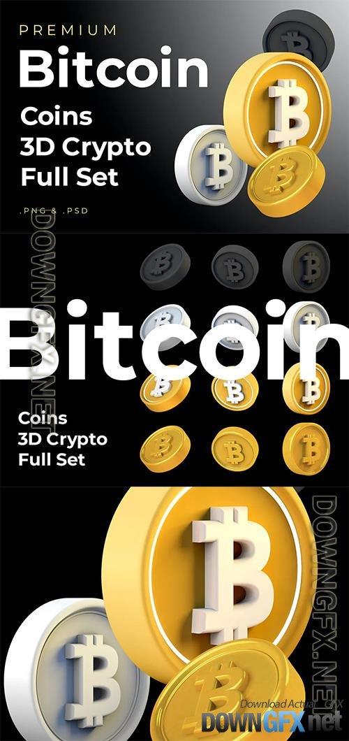 Bitcoin 3d Premium Crypto DeFi Coins Set