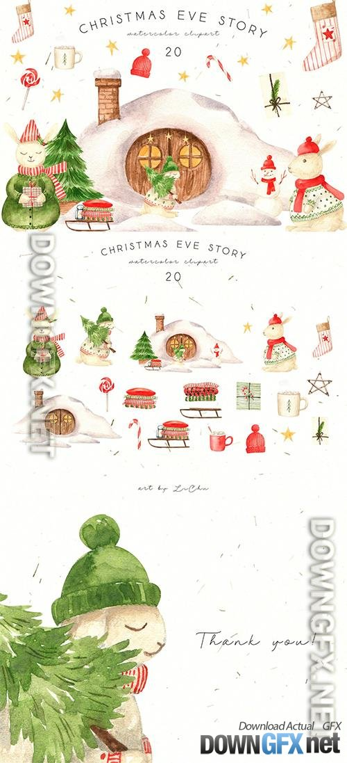 Watercolor Christmas Rabbits and House Clipart