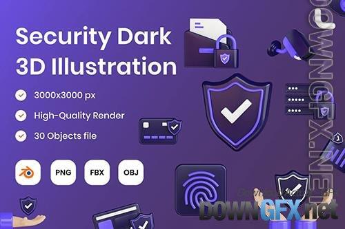 Security Dark 3D Illustration