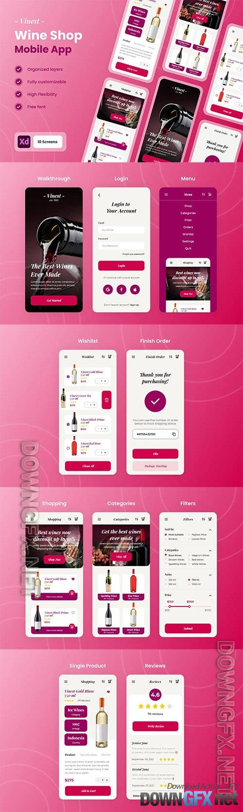 Vinest - Wine & Vineyard Mobile App UI Kit